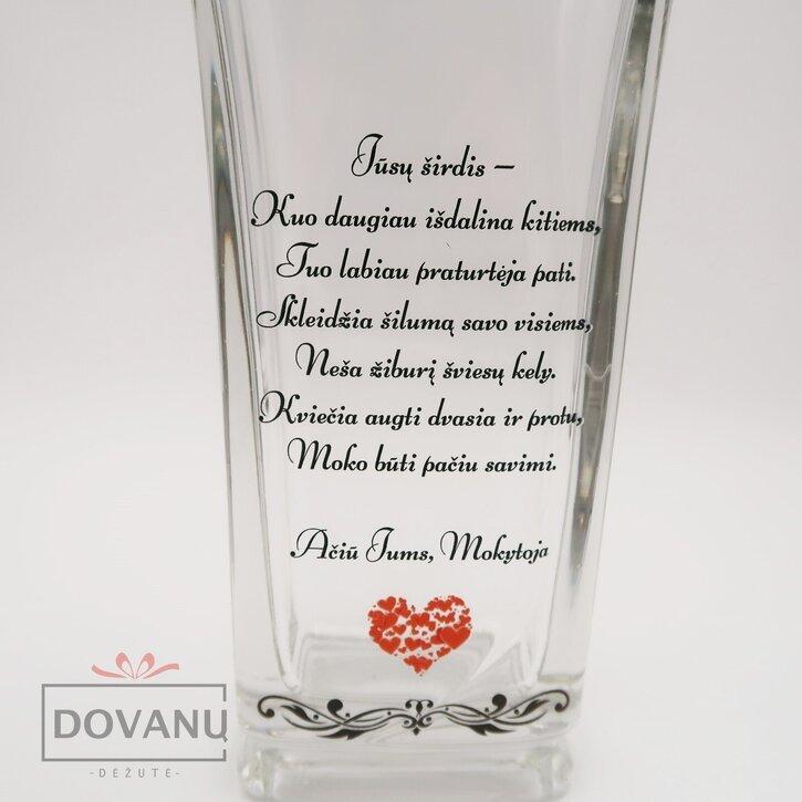 "Stiklinė vaza ""Ačiū Jums, Mokytoja"""