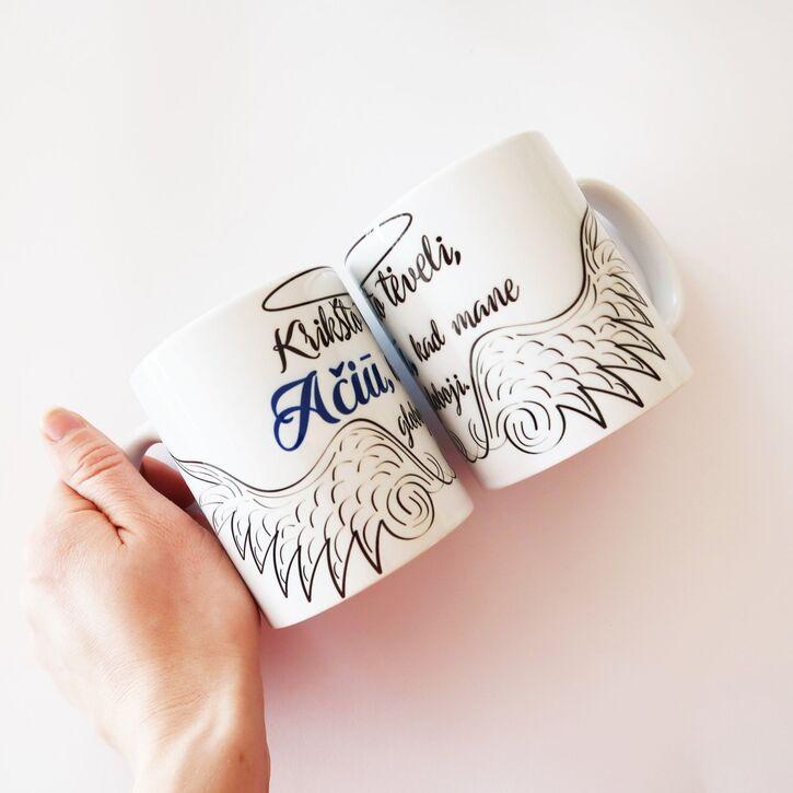 """Dovanų rinkinys krikšto tėveliams """"Ačiū"""" su puodeliais"""